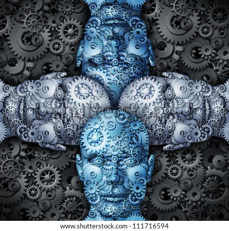 Industry cooperation and partnership working together as a team connecting their ideas to find successful unified solutions with human head shapes made of gears and cogs.