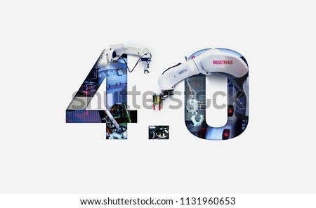 Industry 4.0 double exposure concept. 3D printing, Automation, Robotic arm and Autonomous industrial technology. #1131960653