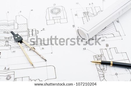 industry drawings and blueprints concept