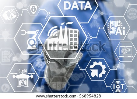 Industry 4.0 factory IoT integration AI web computing concept. Industrial automation modernization business internet robotic artificial intelligence upgrade manufacture engineering technology