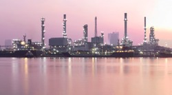Industry, factory, oil refinery panoramic view