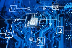 Industry 4.0. Fourth industrial revolution. Digitalization and automation of modern business process and using robots, online technology, Internet of thing etc.