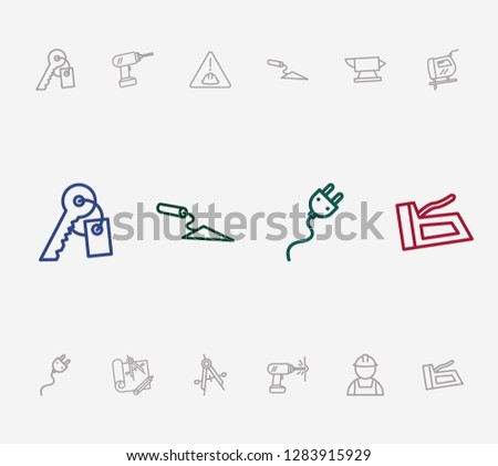 Industry icon set and trowel with stapler, builder and anvil. Precision related industry icon  for web UI logo design.