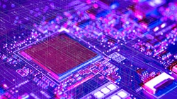 Industry 4.0 , Machine learning and artificial intelligence concept. Ai chipsets for robot arm , driveless cars , sports game chips in smart factory background