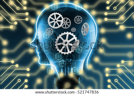 Industry 4.0 , Machine learning and artificial intelligence concept. Robot brain with gears connection. Light bulb and Electric circuits graphic background
