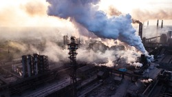 industry metallurgical plant dawn smoke smog emissions bad ecology aerial photography