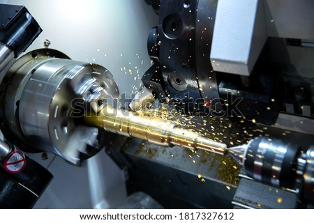 Industry milling mechanical turning metal working process metals parts ,Manufacturing industrial Foto stock ©
