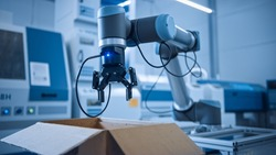 Industry 4.0 Modern Factory: Programmed Robot arm Packing Metal Components into Cardboard Box. Production Line Machine Picks Packs Product into Package on Conveyor. Fully Automated Warehouse Robotics