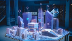 Industry 4.0: Modern Professional Architect Wearing Virtual Reality Headset Uses Gestures to Move, Design, Manipulate Buildings for 3D City. Mixed Augmented Reality Software. VFX Special Visual Effect