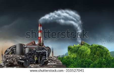 Industry pollution environment concept as a human head shaped as a dirty power plant releasing toxic waste and smoke stacks with plumes of dirty air breathed by a mountain in the shape of a face.