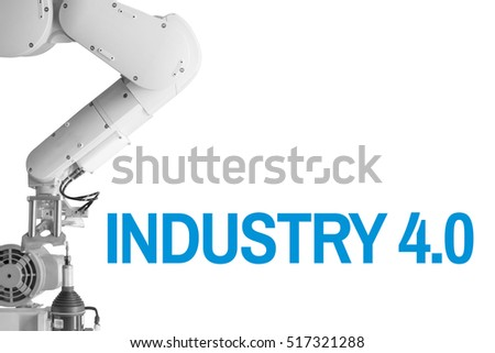 Industry 4.0 Robot arm and industrial  White  background Blue Text