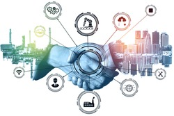 Industry 4.0 technology concept - Smart factory for fourth industrial revolution with icon graphic showing automation system by using robots and automated machinery controlled via internet network .