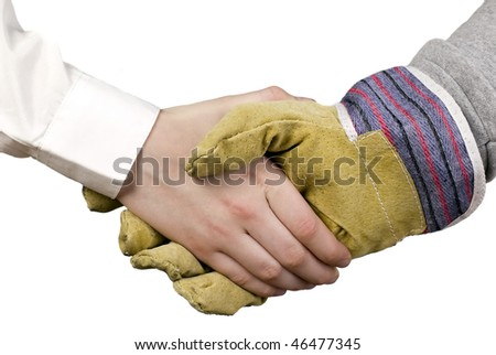 Industry worker with glove shakes hands with businessman