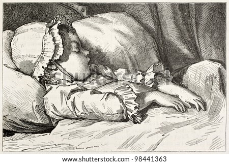 Infant sleeping old engraved portrait. Created by Garnier after Moreau the Young, published on Magasin Pittoresque, Paris, 1882