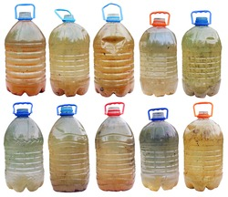 Infected with microbes and bacteria dirty dangerous water in standard plastic bottles. isolated  big set collage