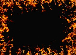 Inferno banner. Fire frame. Ignite explosion. Bright orange yellow flame glow pattern isolated on black night abstract empty space background.