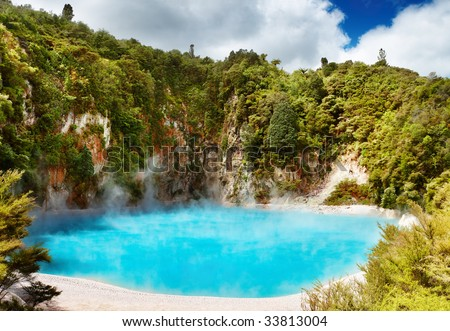 Inferno Crater Lake in Waimangu volcanic valley, New Zealand