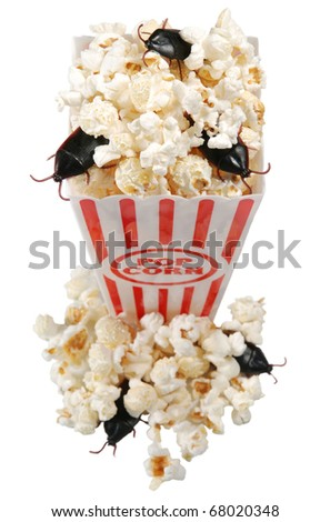 infested concessions  - popcorn box with roaches, isolated on white