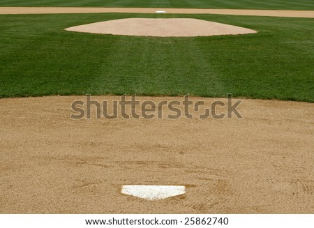 infield view of a baseball field from home plate to the pitchers mound