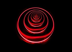 Infinite crystal ball reflection tunnel from red laser refraction