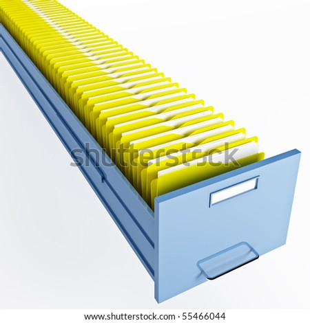 infinite file cabinet with yellow file folder