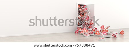 Infinite hearts getting out of a door, original 3d rendering. Love, passion and hope concepts.