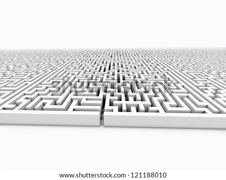 infinite labyrinth on white isolated