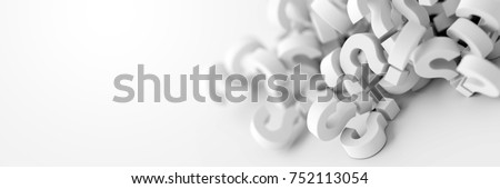 Infinite question marks on a white and gray plane, original 3d rendering
