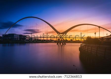 Infinity Bridge at sunset In Stockton-on-Tees, UK
