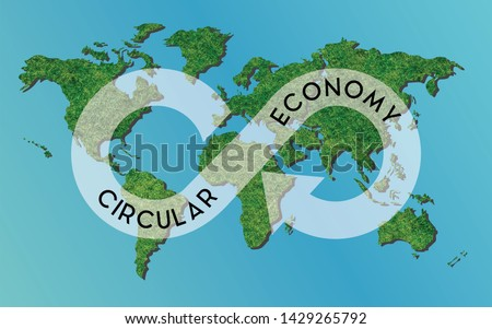 Infinity circle ECO and circular economy concept. Upcycling and recycling  is a way to save the earth. Logo on world map with green grass tree texture. Blue background