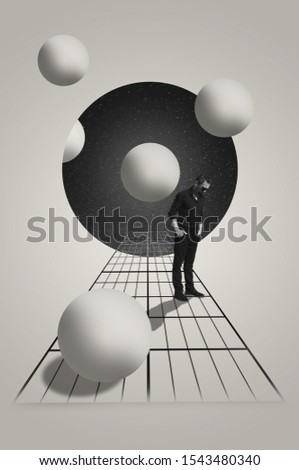 Infinity. Contemporary art collage. Surreal concept