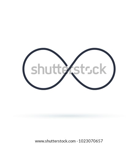 Infinity icon logo. Unlimited illustration, limitless symbol. Black contour of eight, thickness and style isolated on white. Symbol of repetition and unlimited cyclicity.