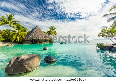 Infinity pool with palm tree rocks, Tahiti island, French Polynesia
