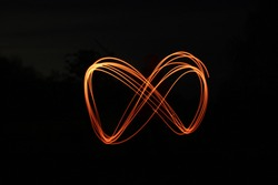 Infinity sign made with light writing