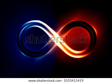 Infinity symbol lit up with blue and orange glow