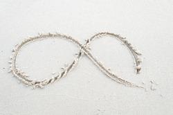 Infinity symbol of sand on the beach