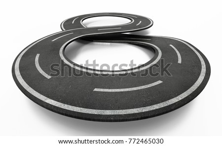 Infinity symbol shaped road isolated on white background. 3D illustration.