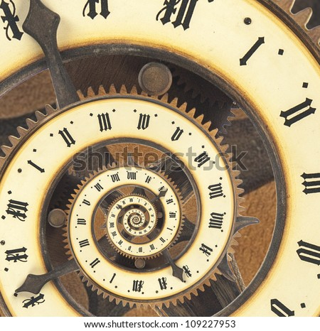 Infinity time with vintage clock. Digital generated