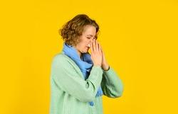 Inflammation nasal sinus. Chronic sinusitis. Cold flu symptoms. Woman blowing nose. Respiratory disease. Influenza infection. Sinusitis treatment. Sinusitis diagnostics. Runny nose. Seasonal allergy.