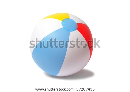 Inflatable beach ball isolated on white - stock photo