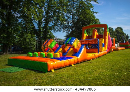 Inflatable, colorful obstacle course in playground