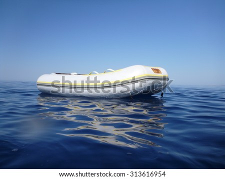 Inflatable dinghy on the sea
