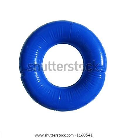 Inflatable lifesaver isolated on white with clipping path