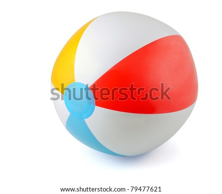 Inflatable PVC beach ball isolated on white