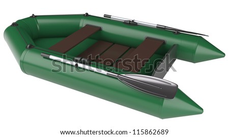 Inflatable rubber boat isolated on white background
