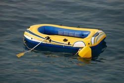Inflatable small boat at sea