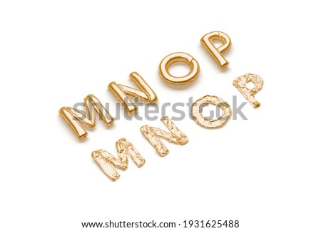 Inflated, deflated gold M N O P letters, balloon font, 3d renderimg. Mylar uppercase typeface for celebration party. Air or helium golden alphabet for name or logotype template. Foto stock ©