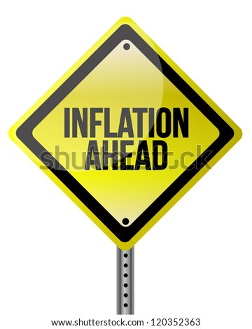 inflation ahead sign illustration design over white