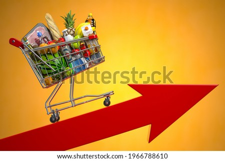 Inflation, growth of food sales, growth of market basket or consumer price index concept. Shopping basket with foods on arrow. 3d illustration