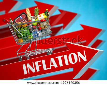 Inflation, growth of market basket or consumer price index concept. Shopping basket with foods on arrow. 3d illustration